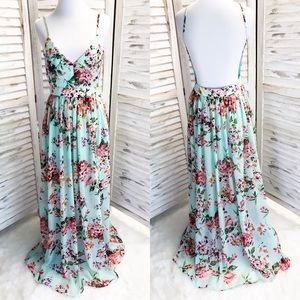 English Garden Floral Maxi Dress in Mint